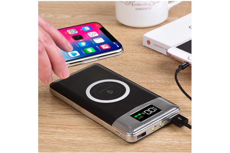 Orotec 10000mAh Power Bank & Qi Enabled Phones Wireless Charger w/2 USB Ports