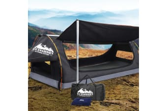 King Single Swag Camping Swags Canvas Free Standing Dome Tent Grey