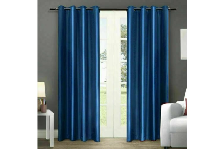 2X Blockout Curtains Panels Blackout 3 Layers Eyelet Room Darkening Pure Fabric  -  Bluish Grey240x230cm