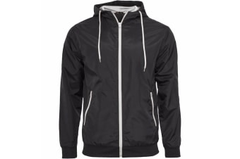 Build Your Brand Mens Zip Up Wind Runner Jacket (Black/White)