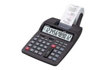 Casio HR-100RC compact 12-digit calculator that offers 2-colour printing