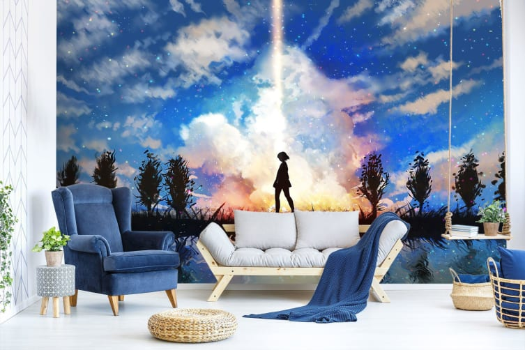 3D Sky Background 52 Anime Wall Murals Woven paper (need glue), XL 208cm x 146cm (WxH)(82''x58'')