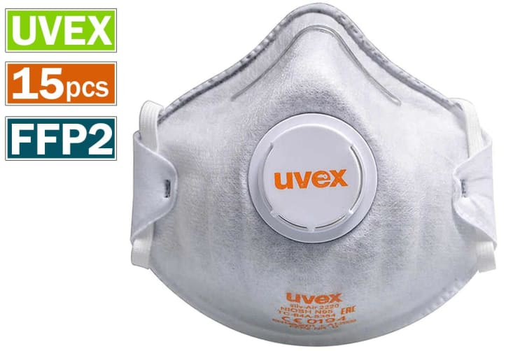 15pcs UVEX 2220 N95 Dust Face Mouth Mask with Active Carbon Valved