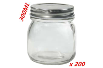 200 x Small Glass Jars 300ml Preserving Conserve Storage Jam Jar with Silver Lid