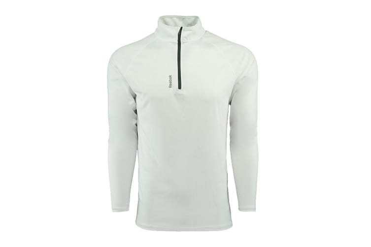Reebok Men's Play Dry 1/4 Zip Jacket (White, Size M)