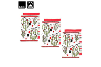 Set of 6 Christmas Xmas Festival Outback Gift Cotton Tea Towels Red by Ladelle
