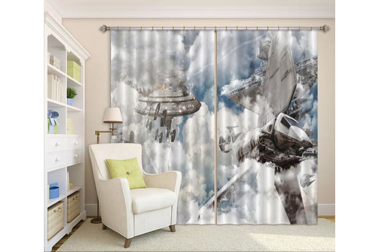 3D Spacecraft Explosion 388 Curtains Drapes, 203cmx241cm(WxH) 80''x 94''
