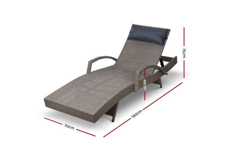 Outdoor Sun Lounge Furniture Setting Rattan Wicker Day Bed Garden Patio