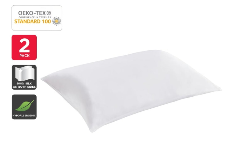 Set of 2 Trafalgar Luxury 100% Mulberry Silk Pillow Cases (White)