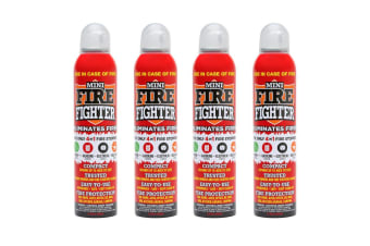 4x Mini Fire Extinguisher Fighter 250ml Home Office Kitchen Electrical Petrol