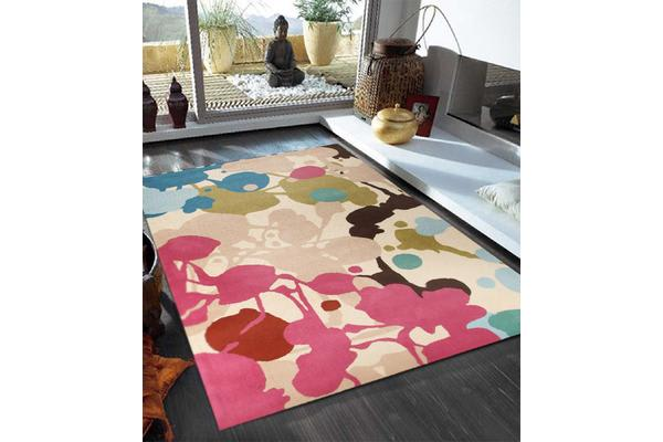 Paint Splatter Design Brown Rug 165x115cm