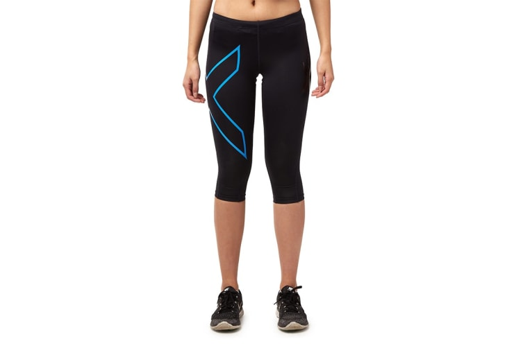 2XU Women's 3/4 Compression Tights G1 (Black/Blue, Size XS)