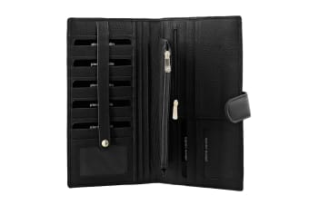 Pierre Cardin Mens Zip Rfid Protected Passport Travel Wallet - Black Italian Leather