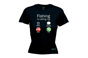 Drowning Worms Fishing Tee - Is Calling Me - (Medium Black Womens T Shirt)