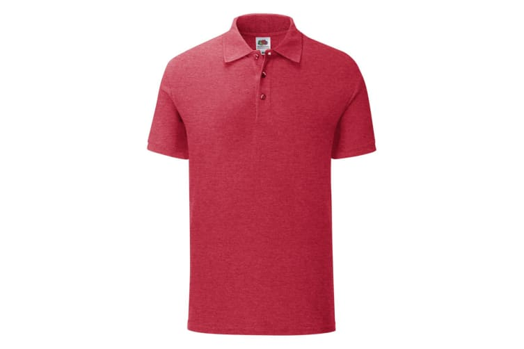 Fruit Of The Loom Mens Iconic Polo Shirt (Heather Red) (XL)