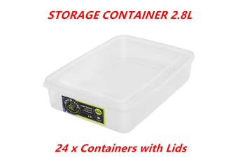 24 x 2.8L Rectangle Stack-able Plastic Food Storage Container Box Tubs Lid BPA Free