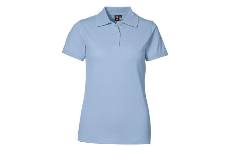 ID Womens/Ladies Stretch Pique Fitted Short Sleeve Polo Shirt (Light blue) (XS)