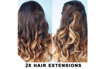 "2Pcs Two Tone Ombre High Grade Brown Curly Hair 7Piece 16Clips 24"" Hair Extension 2X"