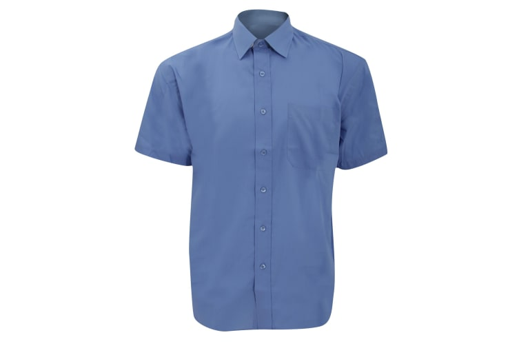 Russell Collection Mens Short Sleeve Poly-Cotton Easy Care Poplin Shirt (Corporate Blue) (18.5)