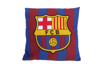 FC Barcelona Official Football Crest Cushion (Red/Blue) (37cm x 37cm)
