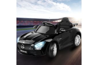 Kids Ride On Car Electric Cars Toys Mercedes-Benz Licensed AMG GTR Toy Remote Control Battery Black