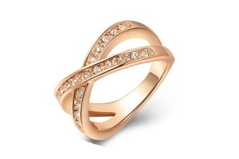 Austrian Crystal Diamond Plating Rose Gold Ring 8