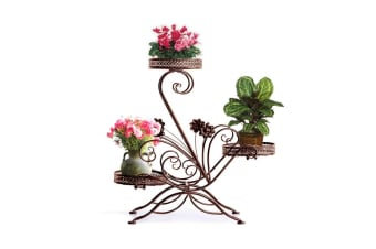 New Outdoor Indoor Flower Pots Plant Stand Garden Metal Corner Shelves 9 Designs  -  Type D in Bronze