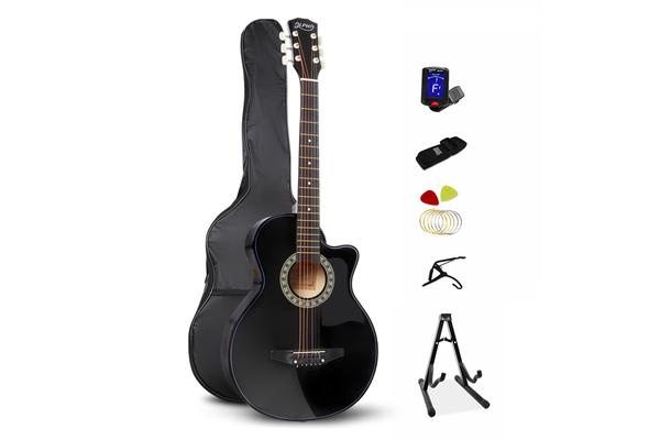 38 Inch Wooden Folk Acoustic Guitar (Black)