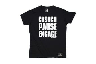 Up And Under Rugby Tee - Crouch Pause Engage Mens T-Shirt