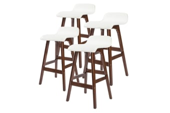 4X 65cm Oak Wood Bar Stool Leather SOPHIA - WHITE BROWN