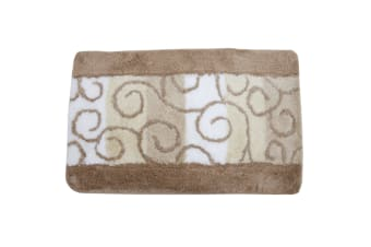 Swirl Pattern Bathroom Bath Mat/Rug (2 Options) (Beige/White/Cream) (90cm x 55cm)