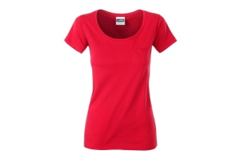 James and Nicholson Womens/Ladies Pocket T-Shirt (Red) (S)