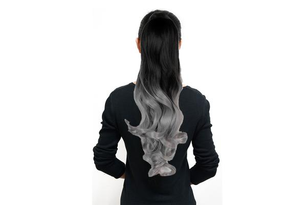 "Two Tone Ombre High Grade Silver Gray Curly Clip On Pony Tail 24"" Hair Clamp 09"