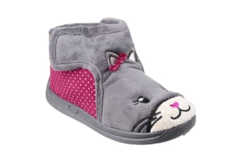 Mirak Childrens Girls Kitty Slippers (Grey) (28 EUR)
