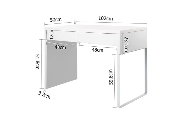 Office Computer Desk Table with Drawers (White)