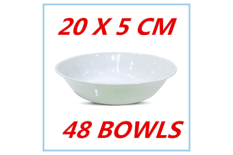 48 X GLOSSY WHITE MELAMINE ROUND CEREAL BOWLS BOWL PARTY FUNCTION EVENT FD