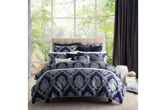 Marcella Navy Queen Quilt Cover Set by Ultima