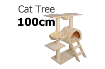 Multi Level 100CM Cat Scratching Poles Tree with Ladder (Beige)
