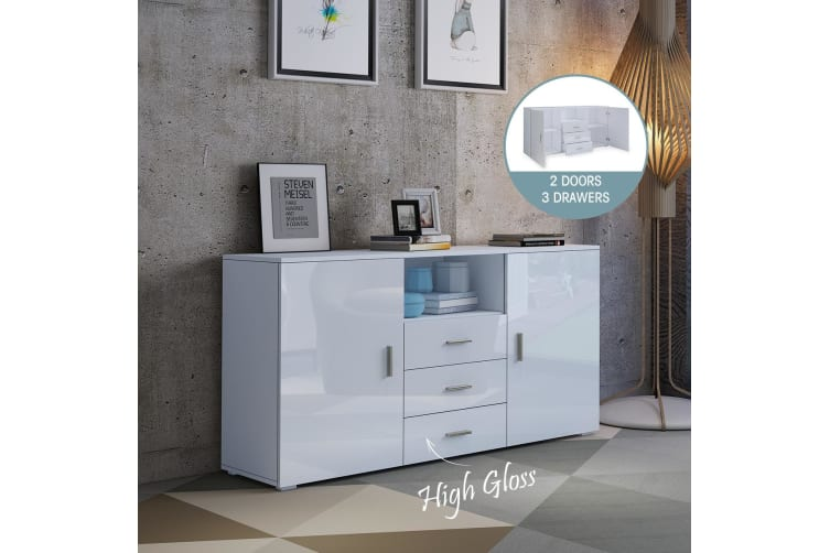 High Gloss Front 2 Door 3 Drawer Buffet Cabinet White