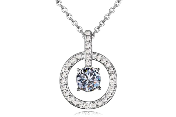 Jupiter's Sparkle Necklace w/Swarovski Crystals-White Gold/Clear