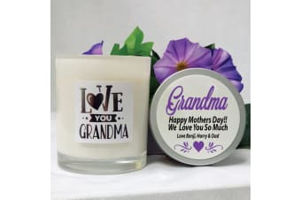 Love You Grandma Scented Soy Candle 45hours Personalised Lid