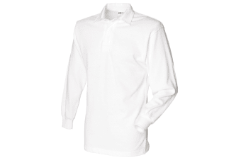 Front Row Long Sleeve Classic Rugby Polo Shirt (White/White)