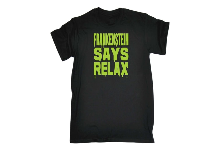 123T Funny Tee - Frankenstein Says Relax - (X-Large Black Mens T Shirt)