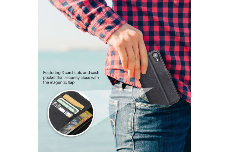 For iPhone XR Case iCoverLover Black Genuine Leather Wallet Folio Case
