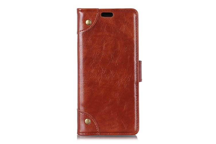 For iPhone XS MAX Case Copper Buckle Flip Leather Wallet Cover Slots Stand Brown