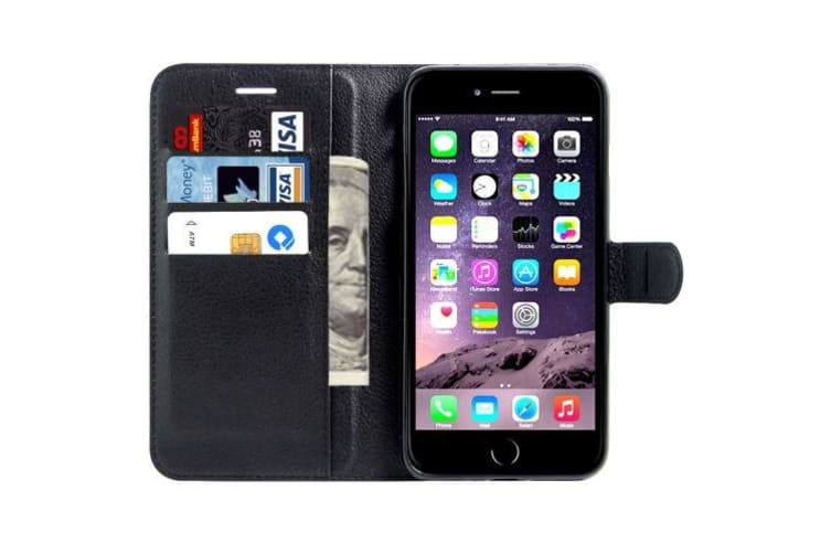 For iPhone 8 PLUS 7 PLUS Wallet Case Elegant Protective Leather Cover Black