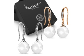 Boxed 2 Pairs Chivalry Pearl Drop Earrings Set Embellished with Swarovski crystal Pearls