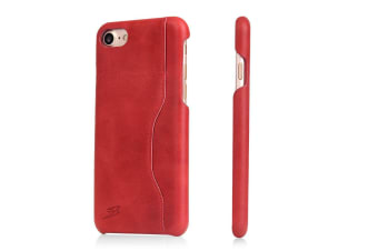 For iPhone 8 7 Wallet Case Stylish Waxed Protective Cow Leather Cover Red