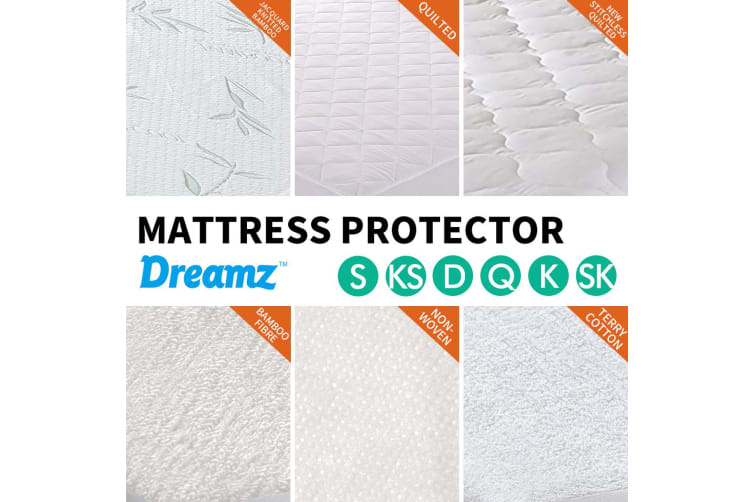 DreamZ Terry Cotton Fully Fitted Waterproof Mattress Protector Queen Size