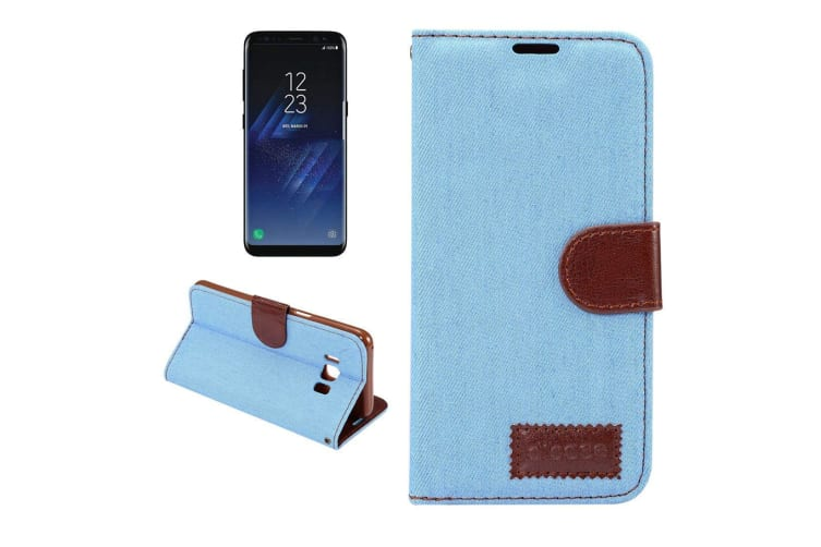 For Samsung Galaxy S8 PLUS Wallet Case Denim Texture Leather Cover Baby Blue